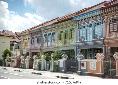 SINGAPORE, MARCH 26,2017 : Colorful peranakan heritage house, Joo chiat road, Singapore