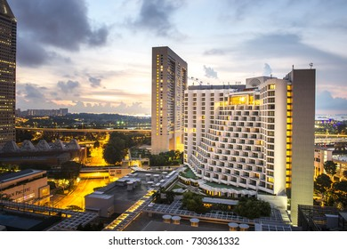 SINGAPORE - MARCH 26,2017 : The Mandarin Hotel at night, Singapore