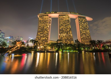 SINGAPORE - MARCH 27: Night view of Supertree Grove at Gardens by the Bay on  MARCH 27, 2014 in Singapore.
