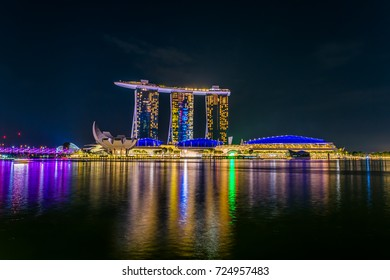 Singapore - March 28, 2017 : Lighting from the Marina Bay Sands building in Singapore.