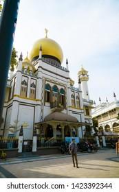 SINGAPORE - MARCH 29 2019: Sultan Mosque (Masjid Sultan) in arab quater