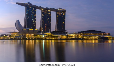 SINGAPORE - March 29: Fifty-five storeys high, US$ 6.3 billion Marina Bay Sands Hotel dominates the skyline at Marina Bay March 29, 2014 in Singapore.