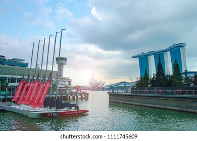 Singapore - March 3, 2018: View of Marina Bay Sands and ArtScience Museum from DBS Marina Bay Sailing port.