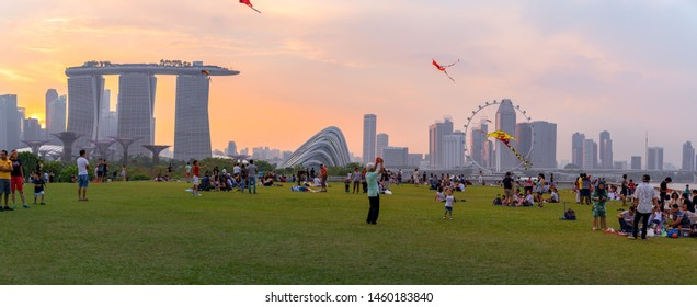 Singapore - March 30rd, 2019: Many People enjoying and playing at Marina Barrage. Marina Barrage for outdoor activities of Singapore people
