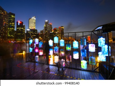 SINGAPORE -MARCH 31:Asia's First Sustainable Light Art Festival at Marina Bay March 31, 2012 in Singapore.The festival aims to celebrate the nightscape with the use of energy-efficient lighting.