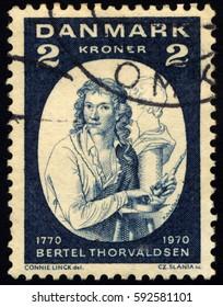 SINGAPORE – MARCH 4, 2017: A stamp printed in Denmark shows Bertel Thorvaldsen, circa 1970