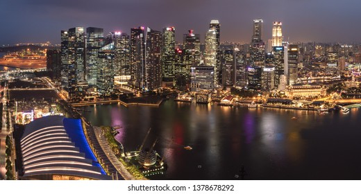 SINGAPORE - MARCH 4, 2019: Evening Skyline and Marina Bay of the Most Technology-Ready Nation