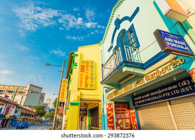 SINGAPORE - MARCH 6: Colorful Houses in Little India district on March 6, 2015 in Singapore. Now Singapore has the world's highest percentage of millionaires