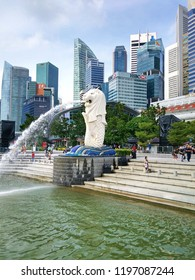 SINGAPORE, MARCH 9, 2018: Merlion statue fountain in Merlion Park. Merlion statue fountain The Merlion is the symbol and most famous tourist attraction of SIngapore.