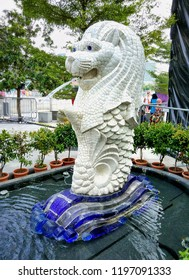 SINGAPORE, MARCH 9, 2018: Mini Merlion statue fountain in Merlion Park. Merlion fountain is one of the most famous tourist attraction in Singapore