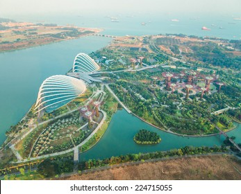 SINGAPORE - MARCH 9 : An aerial view of Gardens by the Bay on MARCH 9, 2014 in Singapore. Gardens by the Bay is a park spanning 101 hectares of reclaimed land
