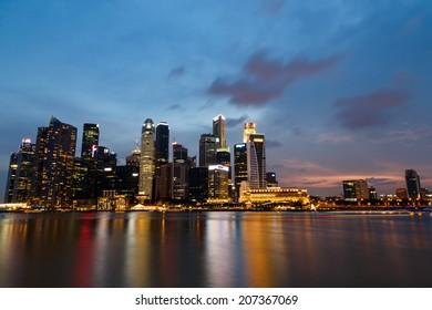 Singapore  marina bay  financial district night