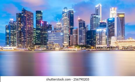 Singapore, Singapore - May 10, 2014: Singapore, beautiful building at night located in Marina Bay. Singapore.