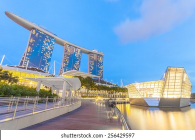 Singapore, Singapore - May 10, 2014: Loius Vuitton store, a luxury shop designed by architect Peter marino located in Marina Bay. Singapore.