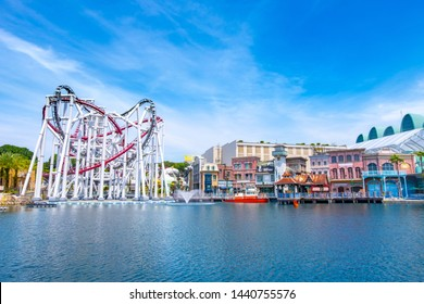 SINGAPORE - MAY 10, 2019: The Battlestar Galactica roller coaster in Universal Studios Singapore in Sentosa, Singapore.