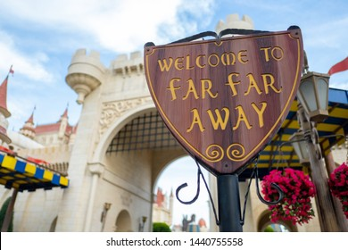 SINGAPORE - MAY 10, 2019: The entrance of Far Far Away castle in Universal Studios Singapore Universal Studios Singapore is a theme park located on Sentosa Island, Singapore.