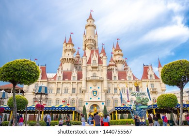 SINGAPORE - MAY 10, 2019: Far Far Away castle in Universal Studios Singapore Universal Studios Singapore is a theme park located on Sentosa Island, Singapore.