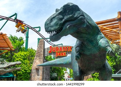 SINGAPORE - MAY 10, 2019: The Jurassic Park zone in Universal Studios Singapore. Universal Studios is famous theme park located on Sentosa Island, Singapore.