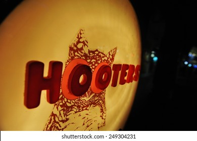 SINGAPORE - MAY 10: View of a sign at a Hooters bar on May 10, 2013 in Singapore. Hooters has expanded worldwide, including southeast Asia.