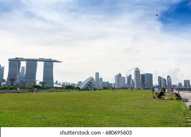 SINGAPORE - MAY 11, 2017 : Marina Barrage in Singapore. The place is a dam built at the confluence of five rivers, across the Marina Channel between Marina East and Marina South.