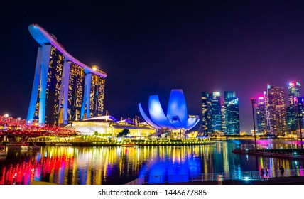 SINGAPORE - MAY 11, 2019: Beautiful cityscape of Singapore city around marina bay sands at night