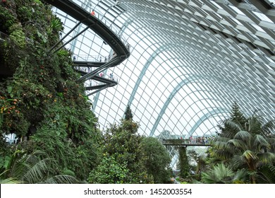 SINGAPORE - MAY 11, 2019: The Cloud Forest Dome, with ?Cloud Mountain? covered in orchids, ferns and bromeliads and containing the world?s largest indoor waterfall, at Gardens by the bay.