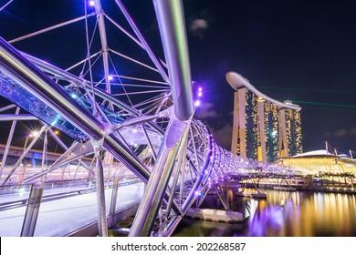 SINGAPORE -May 11: Wonderful laser show at the Marina Bay waterfront in Singapore. Marina Bay Sands Hotel dominates the skyline at Marina Bay on may 11, 2014.