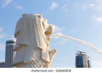 SINGAPORE - MAY 12, 2018 :Close up The Merlion fountain at Marina Bay. The merlion is a marketing icon used as a mascot and national personification of Singapore.