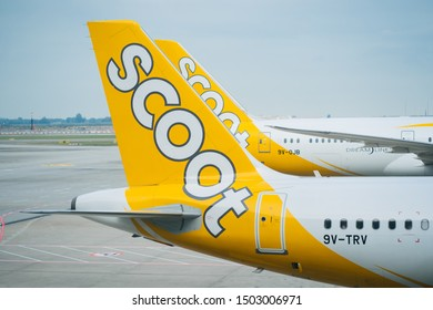 SINGAPORE - MAY 12, 2019: Tail of the Scoot airplane. Scoot is a Singaporean low-cost airline owned by Singapore Airlines