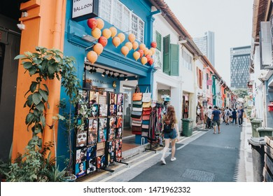 SINGAPORE - MAY 12, 2019: Tourist at Haji Lane in Singapore. Haji Lane is the famous boutique shopping lane in Singapore.
