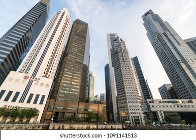 Singapore - May 13 2018: Bank offices of Bank of China, Maybank and Standard Chartered lines the river in Singapore, a major busuiness area in Asia