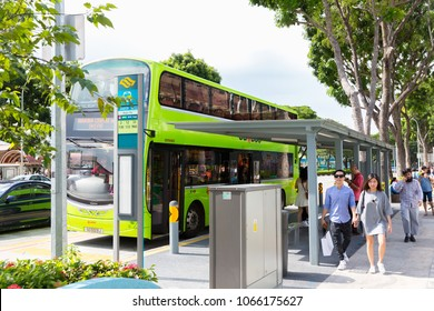 SINGAPORE, MAY 14, 2017 : The city bus arrives at the station in Bugis, Singapore city. Public transport in the city Singapore.
