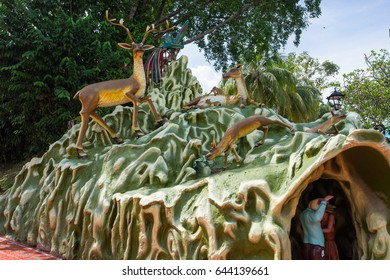 Singapore, Singapore - May 14, 2017 : Haw Par Villa is a theme park at Singapore. It contains over 1,000 statues and 150 giant dioramas depicting scenes from Chinese mythology, folklore, legends