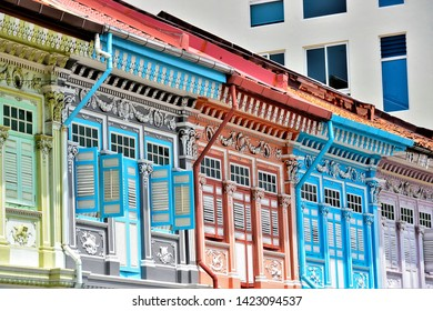Singapore - May 14 2019: Front view of colourful traditional Singapore Peranakan or Straits Chinese shophouse in historic Joo Chiat East Coast