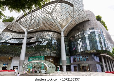 SINGAPORE - MAY 14 : ION Orchard shopping mall on Orchard Road in Singapore on May 14, 2017 in Singapore. The Media Facade is a multi-sensory canvas media wall made with cutting-edge technology.