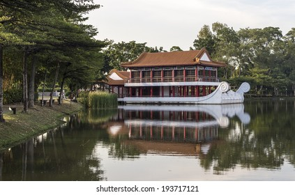 SINGAPORE - MAY 15, 2014: Floating tea house in Singapore Chinese Garden