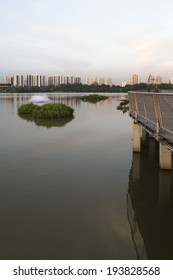 SINGAPORE - MAY 15, 2014: Jurong Lake Park walkway with apartments in the background