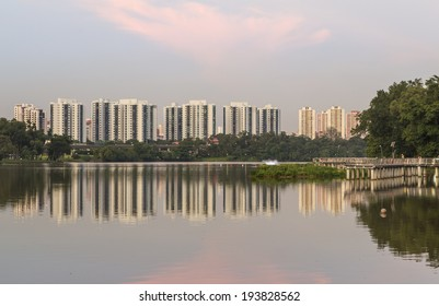 SINGAPORE - MAY 15, 2014: Waterfront housing in the Jurong Lake District
