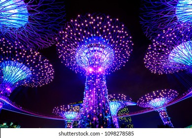SINGAPORE, May 16,2018 : Super trees at garden by the bay in marina bay Singapore.Colorful lighting show and music at the night.