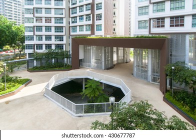 Singapore, Singapore - May 18, 2016 :Open Spaces in Public Housing at Hougang Capeview taken on May 18, 2016