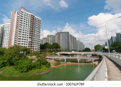Singapore, Singapore - May 18, 2016: Public housing along river bank taken in the day on May 18 , 2016