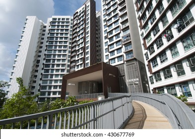 Singapore, Singapore - May 18, 2016 : Public Housing in Singapore at Hougang Capeview taken on May 18, 2016