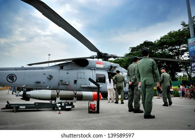 SINGAPORE - MAY 18: The S-70B Seahawk naval helicopter on display of Republic of Singapore Navy Open House at Changi Naval Base on May 18, 2013 in Singapore.