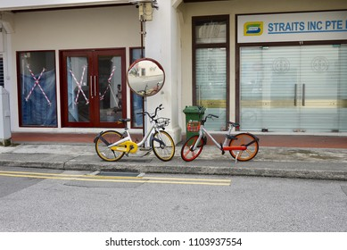 SINGAPORE - MAY 2018: Shared bicycles, Obike and Mobike, are in every corner of Singapore