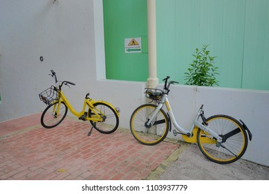SINGAPORE - MAY 2018: Shared bicycles, Ofo and Obike, are in every corner of Singapore