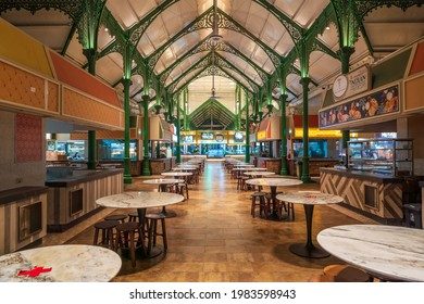Singapore - May 2021: Quiet Lau Pa Sat food court in Singapore with less tourists during the pandemic of Coronavirus disease (COVID-19) at night.