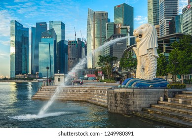 singapore, singapore - May 21, 2016: scenery at the marina bay in singapore with merlion, the official mascot of Singapore
