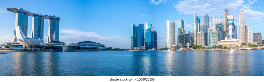 Singapore, Singapore - May 21, 2016: skyline of singapore at the marina bay. Marina Bay is a bay located in the Central Area of Singapore surrounded by the perimeter of four other planning areas