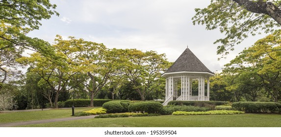 SINGAPORE, SINGAPORE - MAY 22, 2014: A gazebo known as The Bandstand in Singapore Botanic Gardens. Music performances took place here in the 1930s.