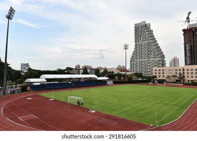 SINGAPORE - MAY 25, 2015: Say scene of Bishan Stadium. Bishan Stadium is a 4,000 seats multi-purpose arena which has a retractable roof.